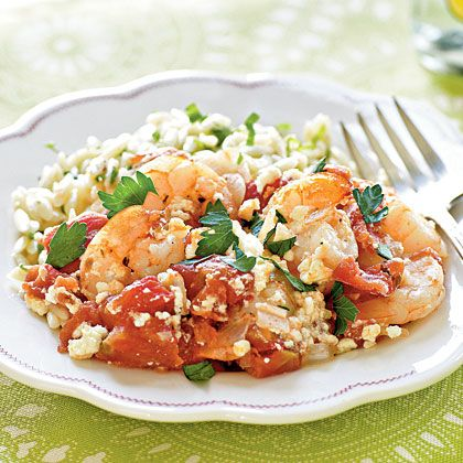 Baked Shrimp with Feta Dig into a delicious seafood bake topped with ...