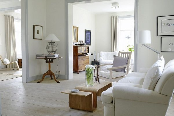 White Walls With Pale Blue Gray Trim Colorful Trim