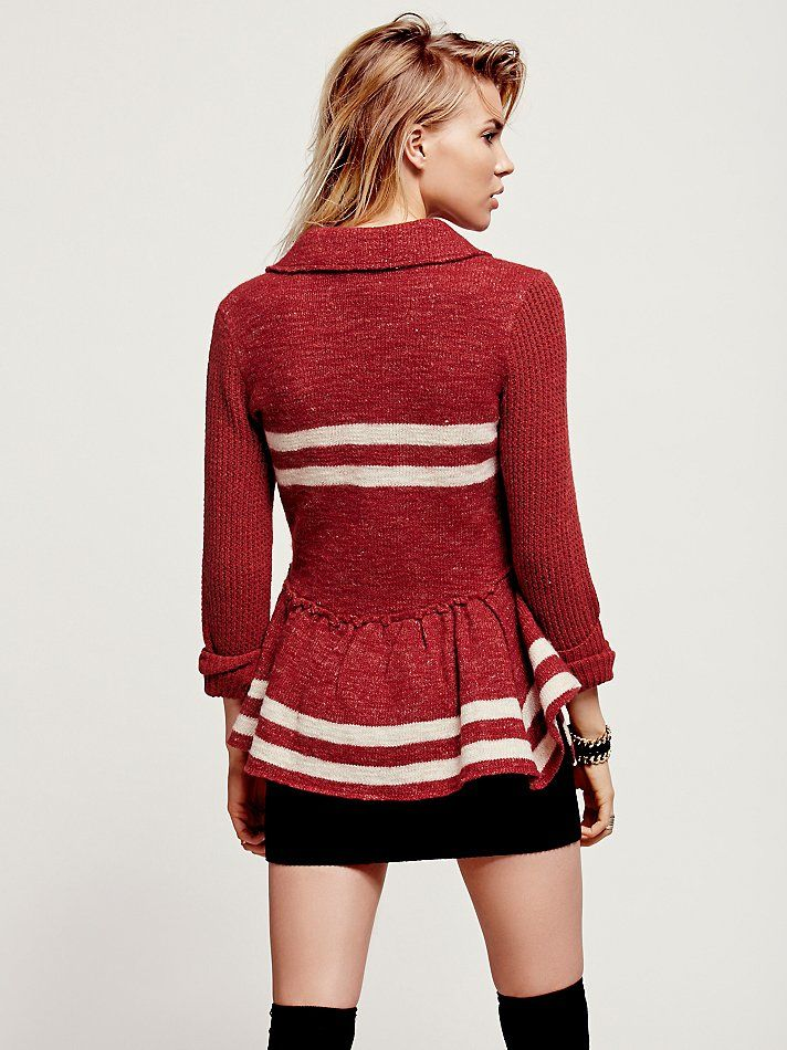 Free People Military Stripe Peplum Jacket