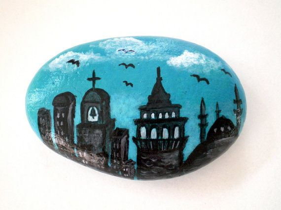 Painted Stone Galata Istanbul Cityscape Painted by ShebboDesign