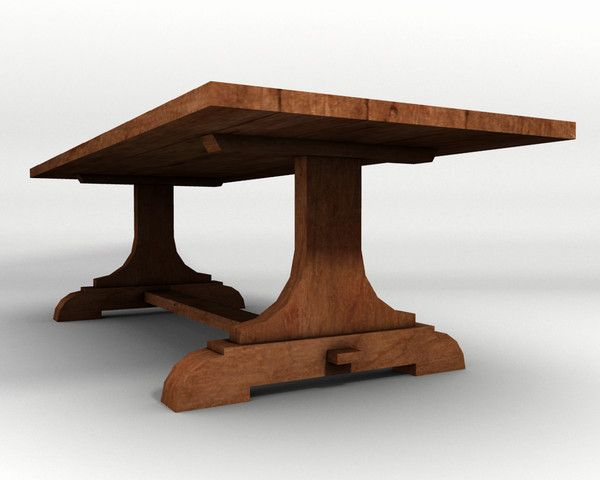 Comtrestle Table Design : trestle table wood 3d 3ds - Trestle Table 3d model, low-poly... by ...