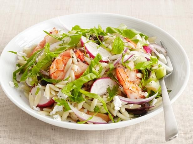 Spinach-Orzo Salad with Shrimp from #FNMag #Protein #Veggies #Grains #MyPlate