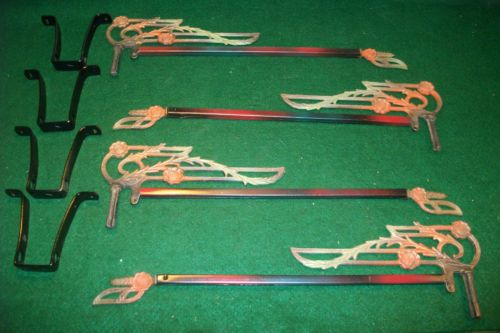 Antique old vintage cast iron swing arm extending drapery curtain rods
