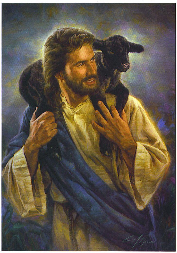 Jesus with black sheep.