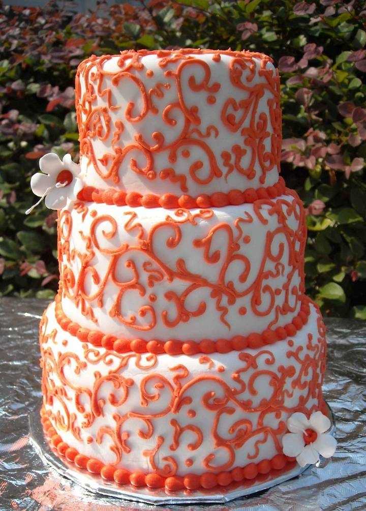 Cake Design Pics : pretty orange and white cake cake ideas Pinterest