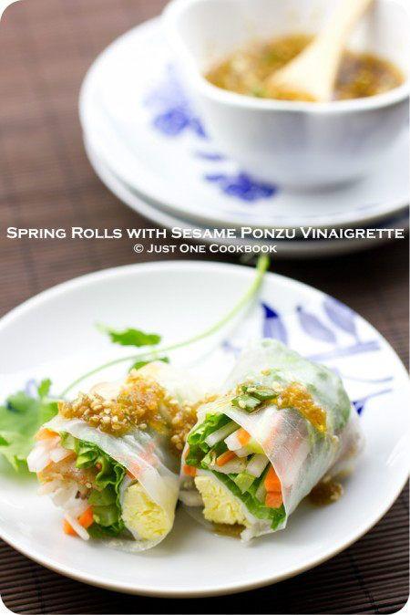 Spring Rolls with Sesame Ponzu Vinaigrette | Recipe