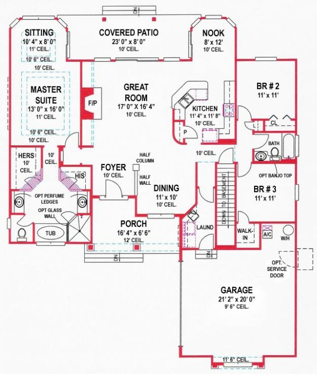 Red Line Floor Plan With Bonus Room House Plans Pinterest