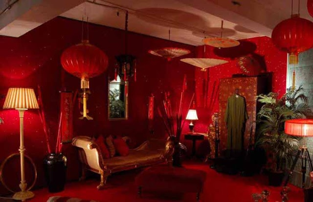 Bohemian red room with parasols: Romany Soup