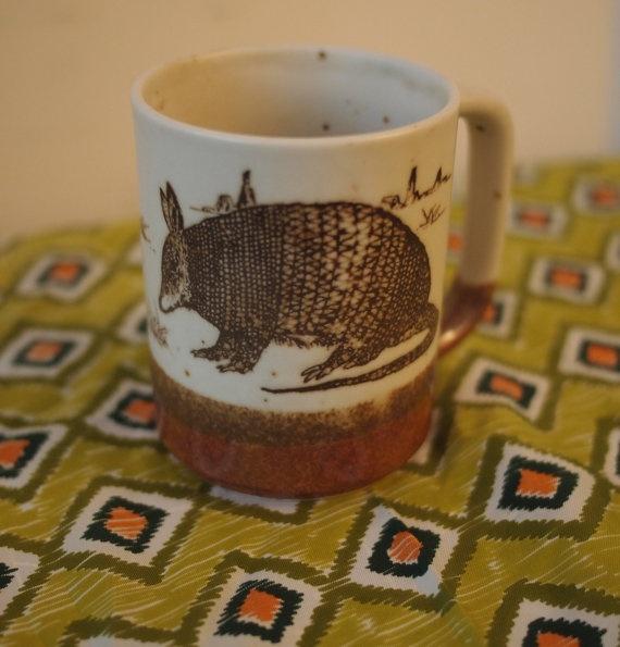 Retro 1970s Armadillo Stonewear Mug Pencil Cup by BluegrassVintageShop, $7.99