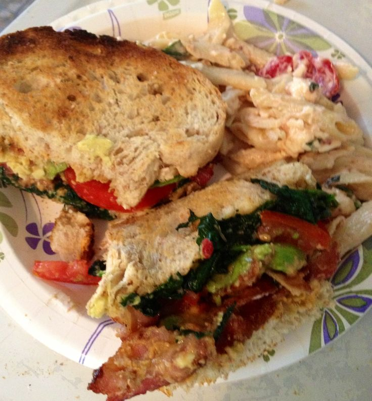 Bacon sautéed spinach tomato avocado sandwich with red pepper hummus ...