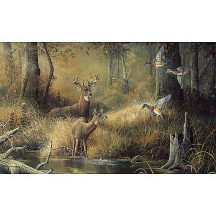 99x164 october memories deer ducks hunting huge wall mural