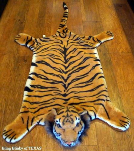 Bengal Tiger Feaux Fur Skin Rug Wall Floor Chair Zoo