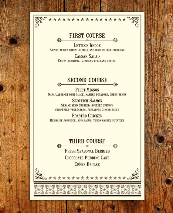Western rehearsal dinner menu customized printable menu for Ideas for dinner menu