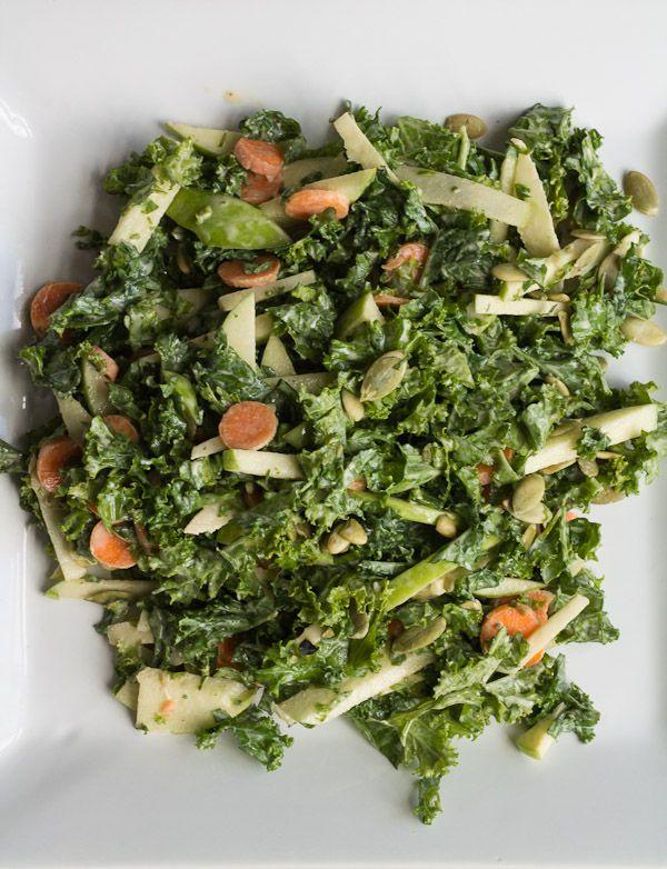 Kale Salad with Lemon-Tahini Dressing {Surprise Baby Shower}