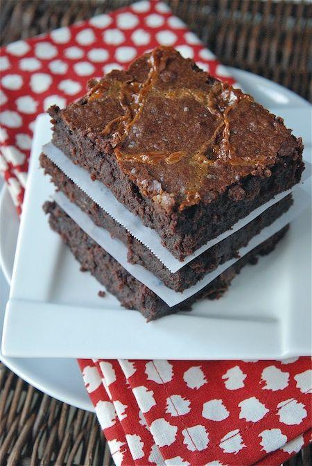 Sweet & Salty Brownies: Dark Chocolate Fudge Brownies with Dulce De L ...