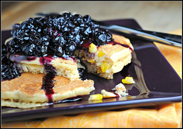 Sweet Corn Pancakes with Blueberry Balsamic Sauce by preventionrd, via ...