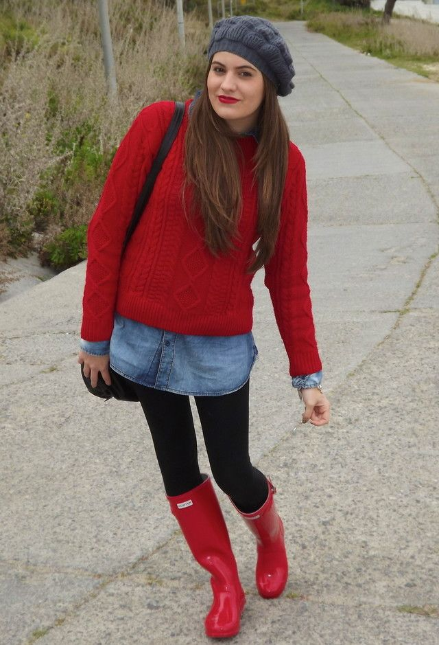 Red hunter boots outfit - Google Search | My Style- Winter ...