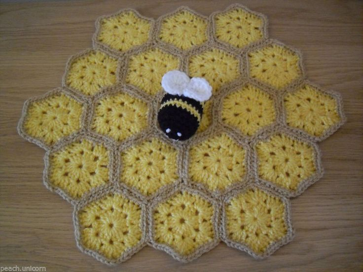 Crochet Pattern For Baby Security Blanket : Crochet PATTERN Bee Baby Security Blanket Lovey Comfort ...
