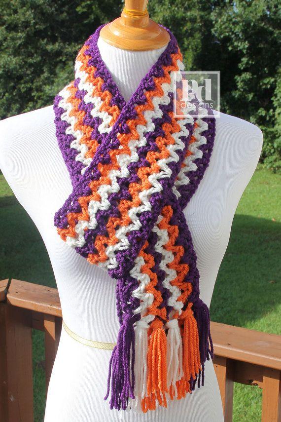 Crochet Scarf Patterns Zigzag : Clemson Pride Zig Zag Crochet Scarf ...Ready by PDDesignsHandmade