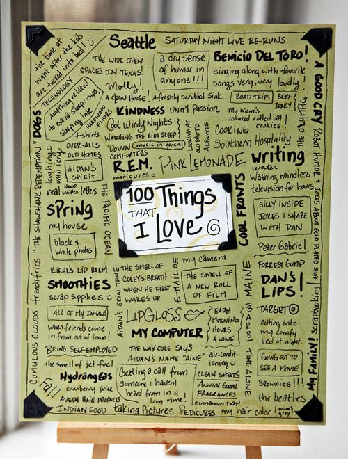 """100 Things I Love"" on one page!"