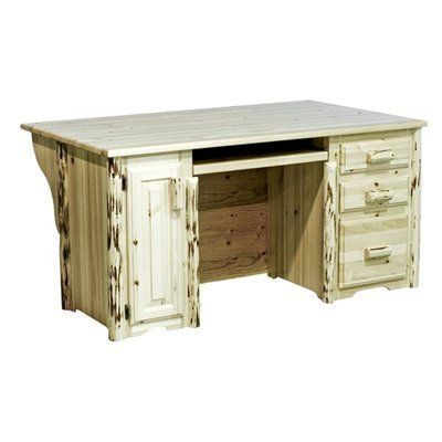 Montana Woodworks MWDEPV Executive Computer Desk, Clear Lacquer by