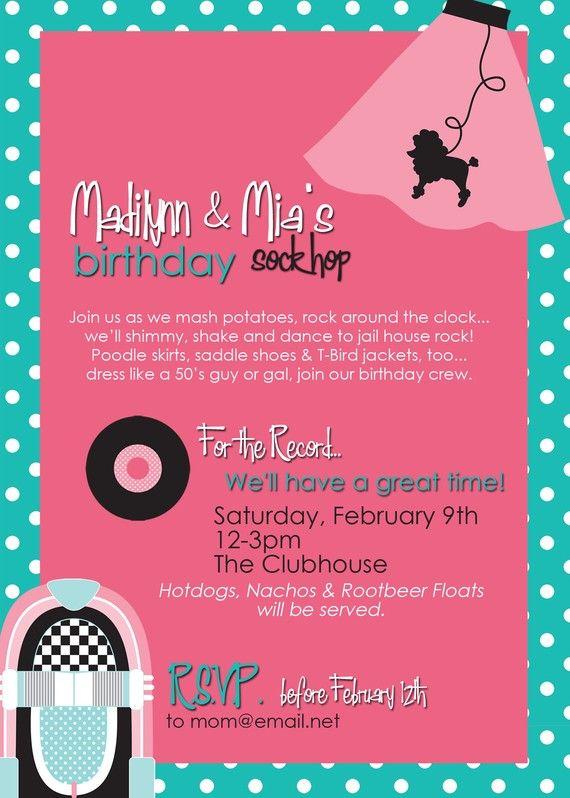 Similiar 1950 Party Invitations Keywords – 1950s Party Invitations
