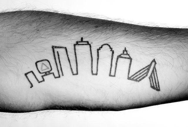 Bled for boston skin deep pinterest for Cleveland skyline tattoo