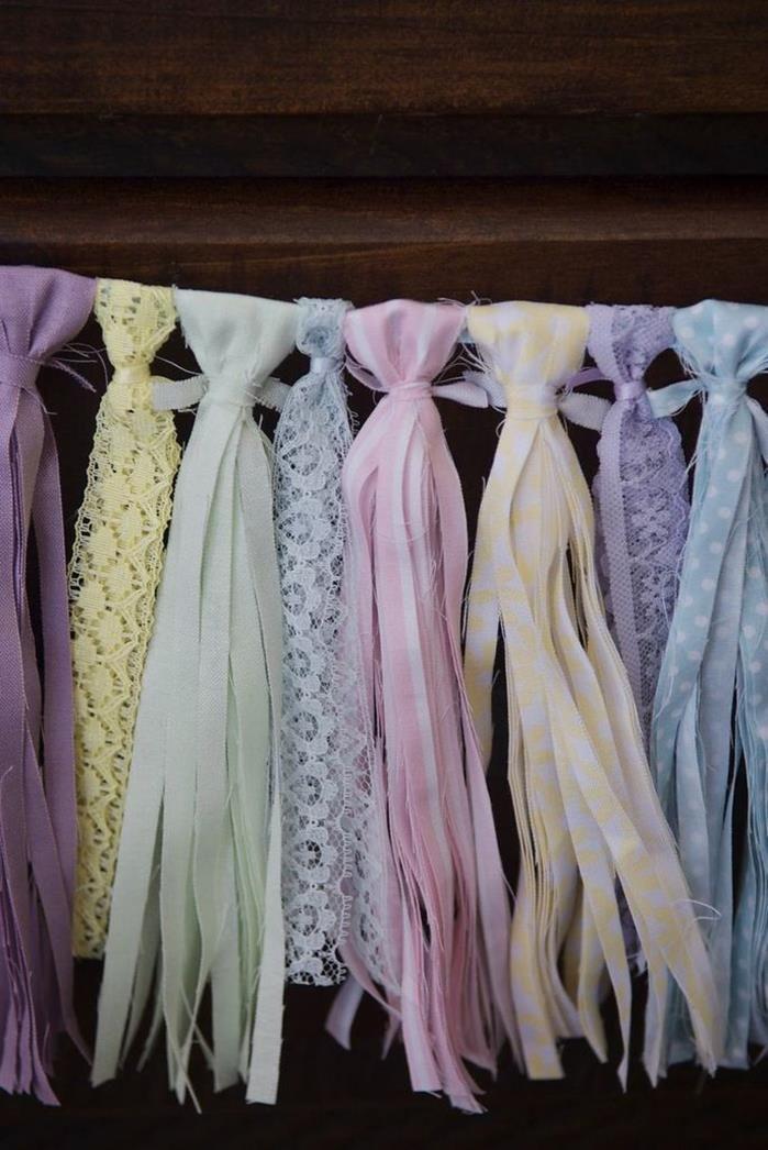 Ribbon Banner at a Cute as a Button 1st Birthday Party via Kara's Party Ideas | Kara'sPartyIdeas.com #Girl #Sewing #PartyIdeas #Supplies #cuteasabutton #banner #birthday #ribbon