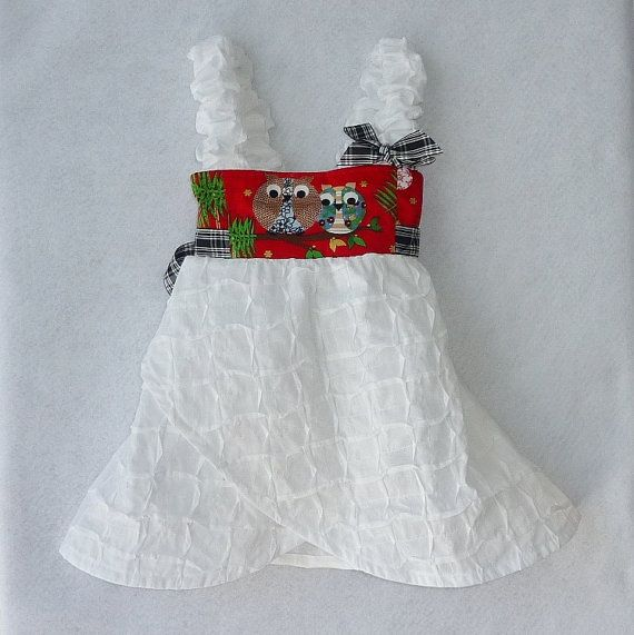 Christmas owl crossover dress all cotton size 2 3 4 by twinsfromoz