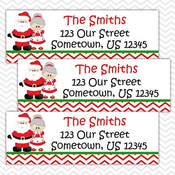 Christmas mr and mrs claus personalized address labels or package