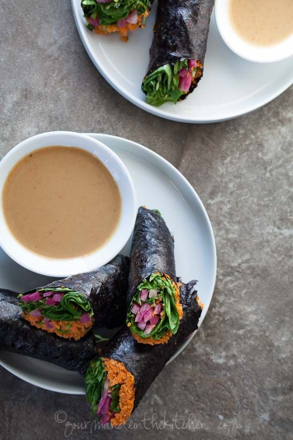 Raw Vegetable Nori Rolls or Wraps with Sunflower Seed Butter Dipping ...