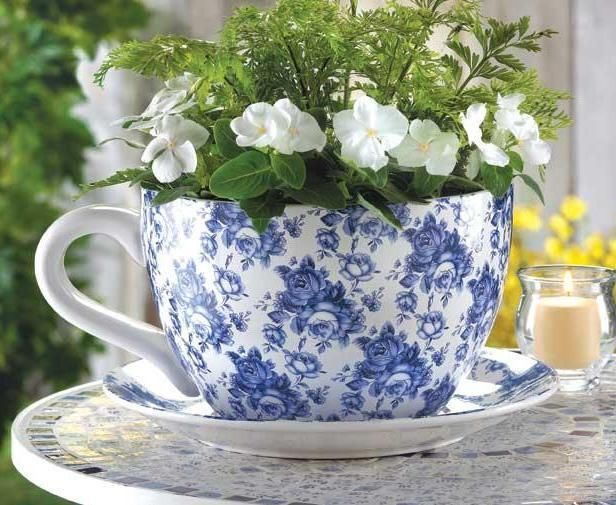 Cottage Chic Blue Roses Large Tea Cup Saucer Planter