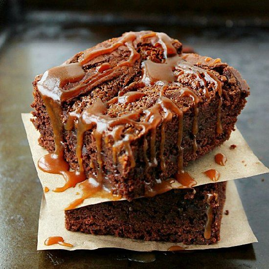 Rich fudgy brownies drizzled with a luscious salted caramel sauce.