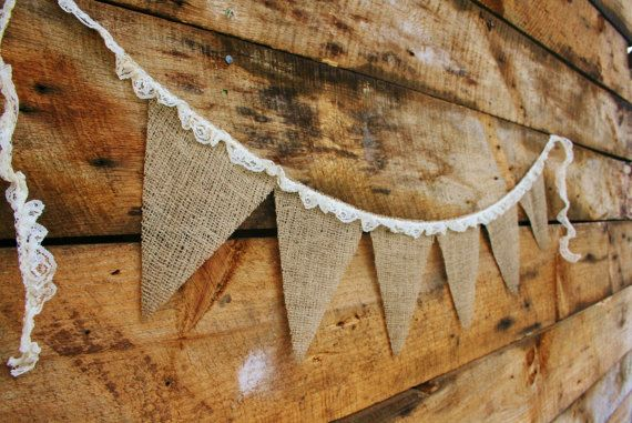 Burlap and Ruffled Lace Bunting, Banner, Photo Prop, Wedding Decor. $12.00, via Etsy.