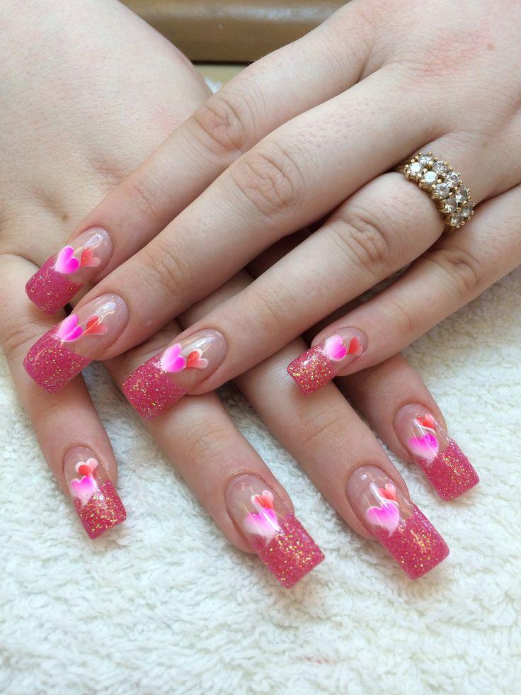 valentine glitter nails