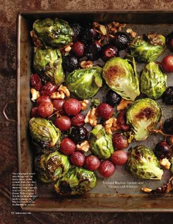 Roasted Brussels Sprouts and Grapes with Walnuts. Whole Living Nov-11.