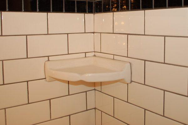 corner shower tile shelf bath pinterest. Black Bedroom Furniture Sets. Home Design Ideas