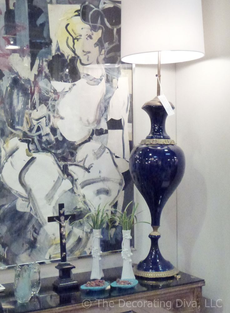 Striking vintage navy blue lamp from Nancy Price Interiors spotted at High Point Market Antiques Center. #HPMKT