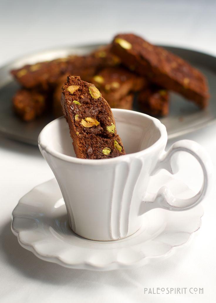 Double Chocolate Pistachio Biscotti- Paleo, Vegan, Gluten-free