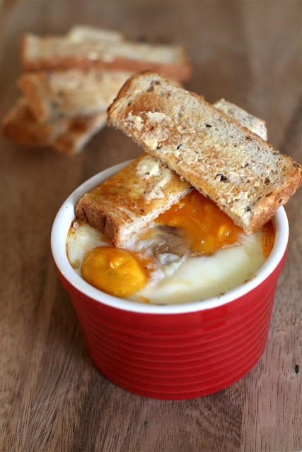 Cakelets and Doilies: Baked Eggs with Chorizo