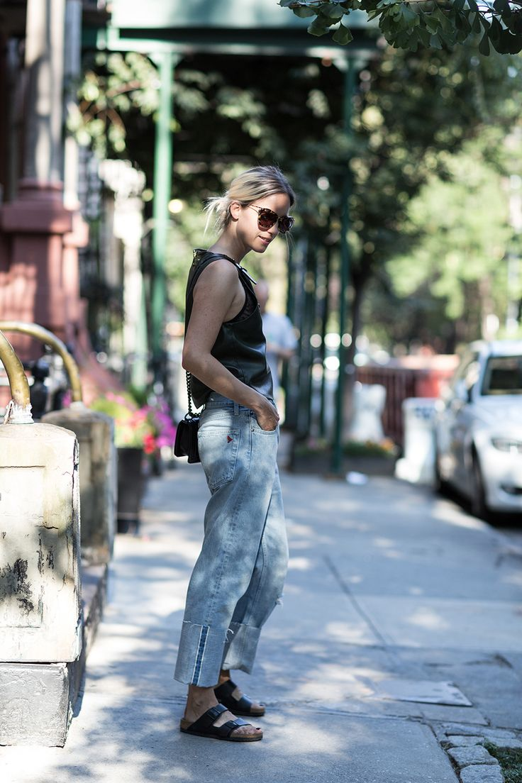 cuffed up denim with leather. Charlotte in NYC. #TheFashionGuitar