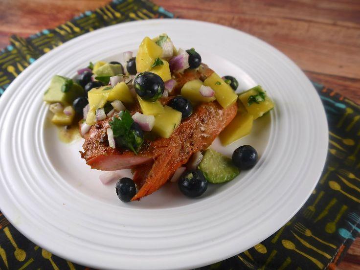 the preppy paleo: Paleo Lime & Coconut Salmon with Fruit Salsa