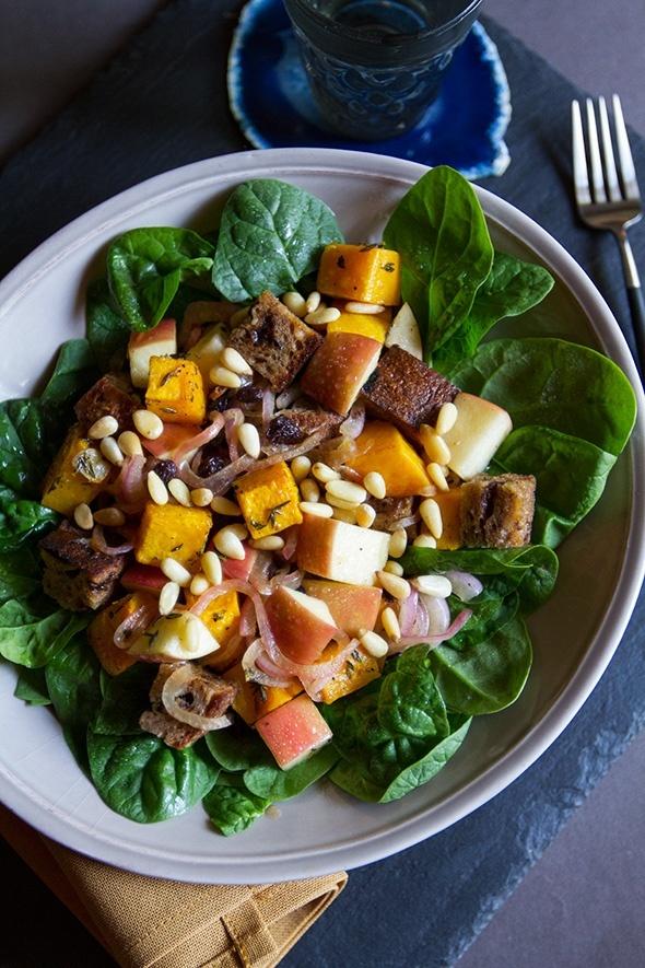Roasted Butternut Squash and Apple Bread Salad // Aida Mollenkamp