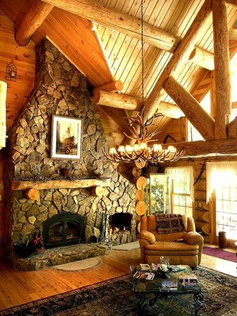 Log cabin fireplace dream home pinterest for Log home fireplaces