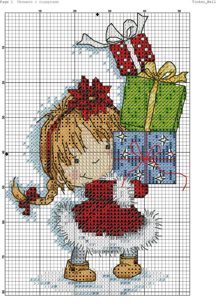 Схема вышивка крестом с подарком 942