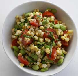 Skillet Corn, Edamame, And Tomatoes With Basil Oil Recipes ...