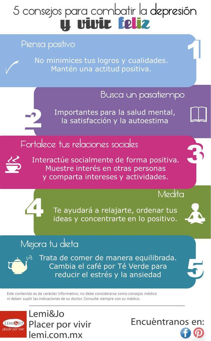 Infografía: 5 consejos para combatir la depresión #depresion #salud #bienestar