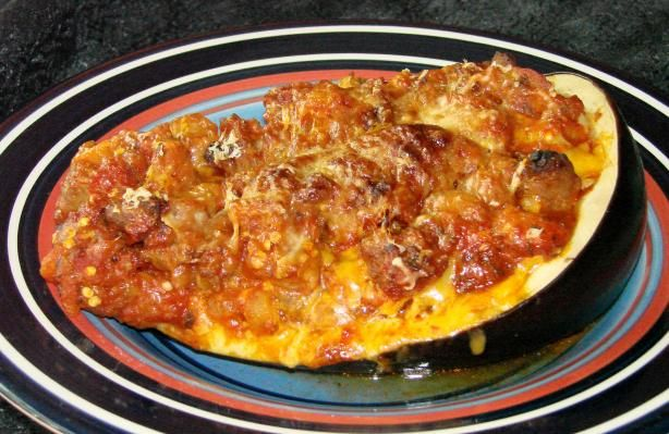 Sausage Stuffed Eggplant! I only used one larger eggplant though and ...