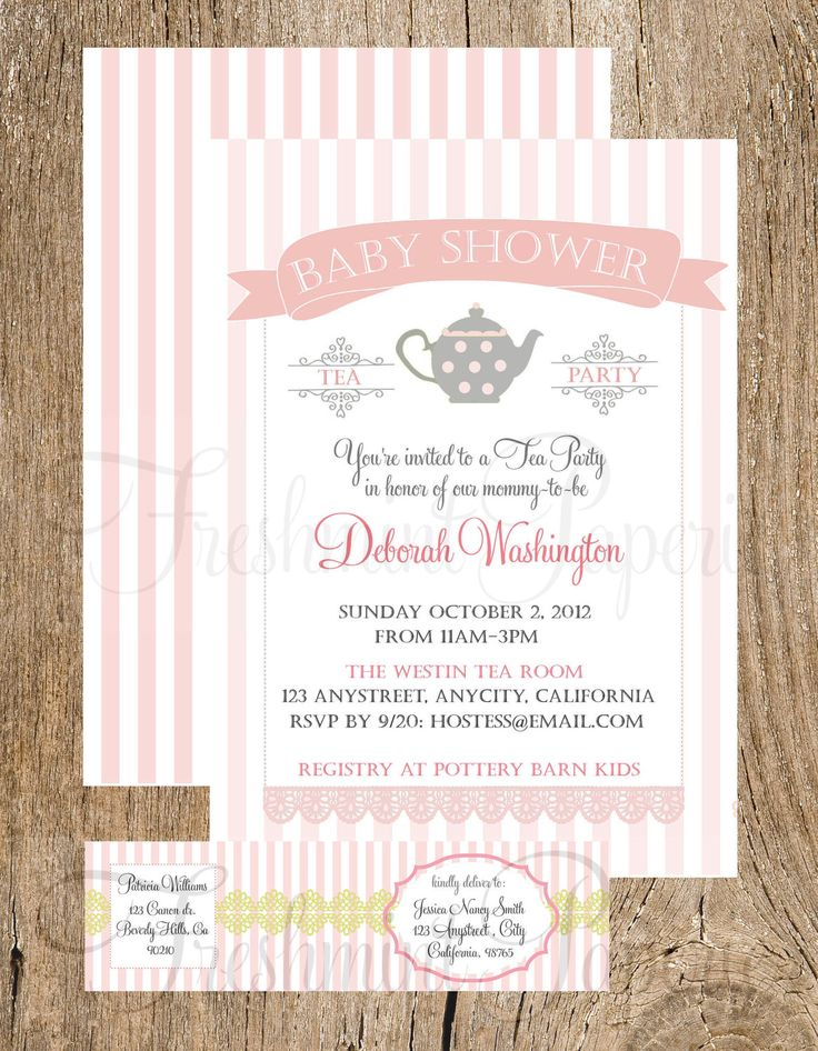 printable invitations baby shower invitation teapot tea party