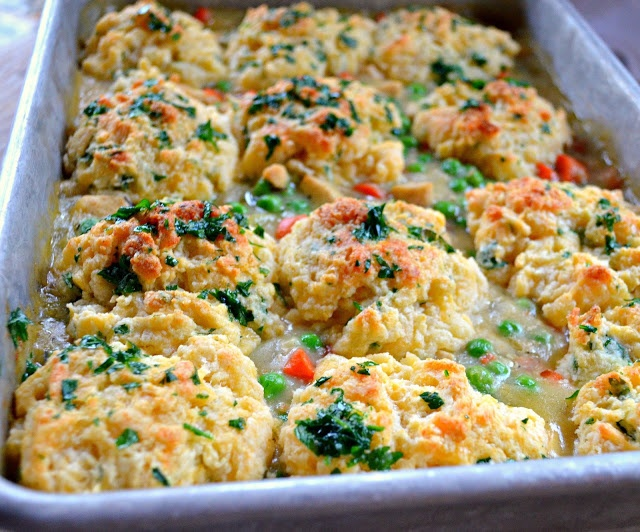 Chicken Or Turkey Casserole With Garlic Cheddar Biscuit Crust